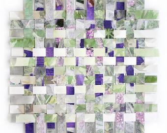 Watercolor Paper Weaving- Original Mixed media- Woven Paper- 9x9- White, Green, Purple