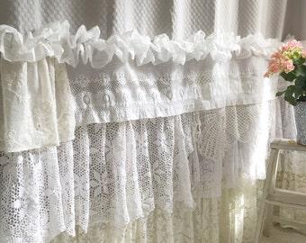 French Country Shower Curtain Bohemian Ruffle By Farmhousefare