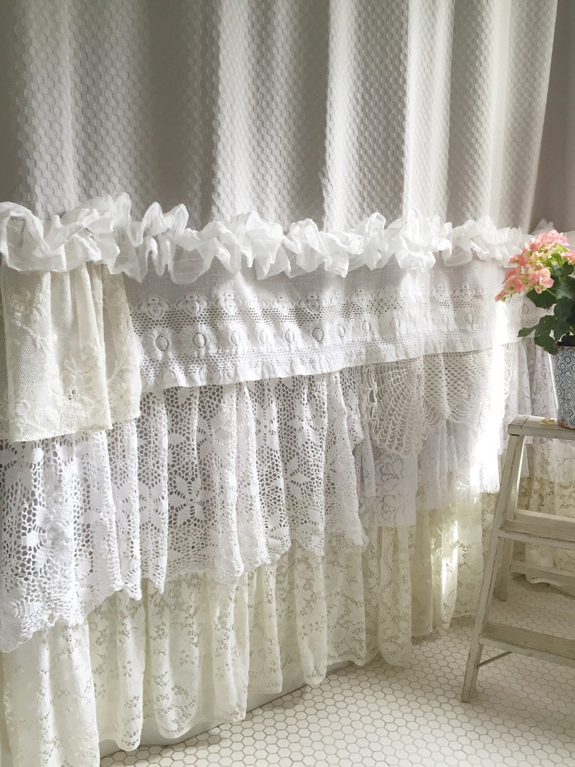Cottage shower curtains shabby chic cottage washed white for Shabby chic rhinestone shower hooks