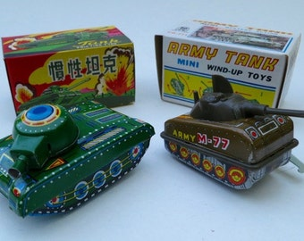 2 Vintage Tin Litho Army Tanks