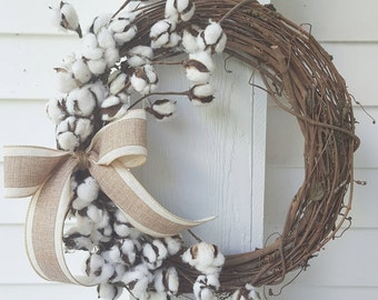 Cotton Boll Wreath Grapevine wreath Rustic Decor Fixer Upper style with Burlap Bow Cotton Ball Wreath
