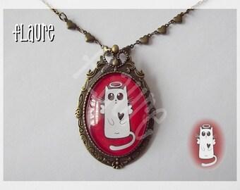 necklace/brooch ''Angel cat''