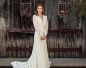 Long Sleeve Wedding Dress, Chiffon Wedding dress, Romantic Wedding Dress, Handmade wedding dress, custom made gown, long sleeves gown