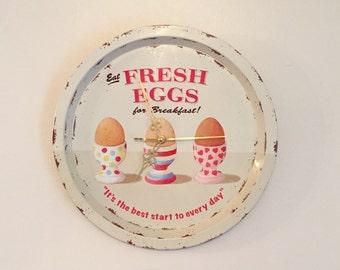 Vintage Upcycled Breakfast Tray Clock