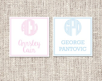 Gingham Monogram Enclosure Card or Water Resistant Label - Choose Pink or Blue