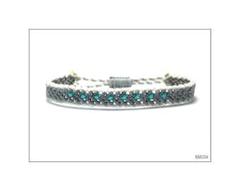 Macrame Band Bracelet - Grey with Turquoise beads / BBAS04