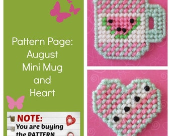 """Plastic Canvas Pattern Page: """"August Mini Mug and Heart"""" (2 designs, graphs and photos, no written instructions) ***PATTERN ONLY!***"""