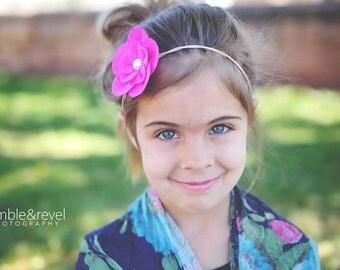 Pink Flower Girl Headband - Felt - Headband - Hair piece - Bridesmaid - Baby