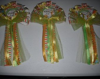 Jungle baby shower corsage set Mommy Daddy and Grandma corsages