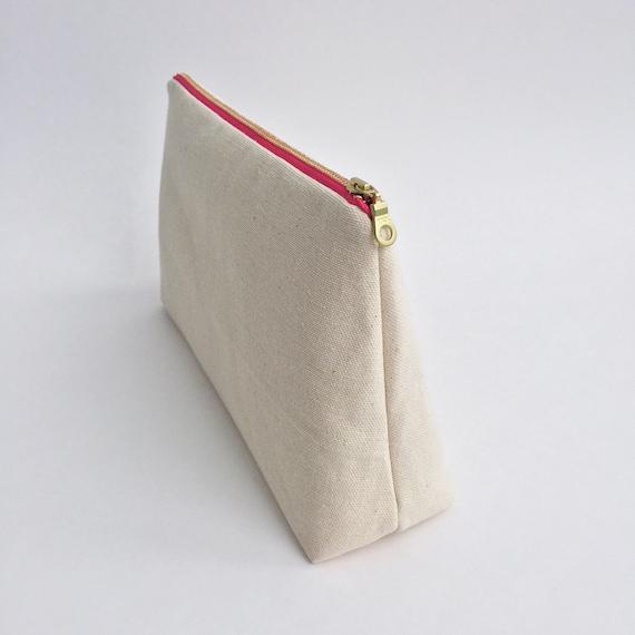 Katoenen Tas Roze : Roze rits canvas etui make up tas geval van het potlood