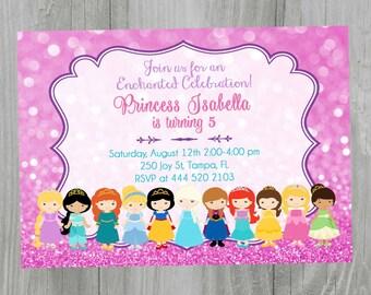 Princess Invitation, Printable Invitation. Princess Birthday Invitation. Digital File