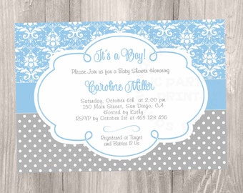 Blue Damask baby shower invitation. Grey and Blue Baby Shower Invitation. Digital file. Blue damask grey polka dots boy baby shower.