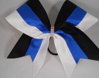 Cheer Bow Royal Black White w Rhinestone Center by BlingItOnCheerBowz