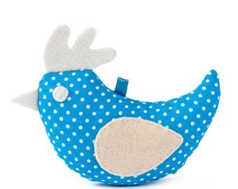 Spring textile blue bird, soft bird, Easter decor, spring decoration.