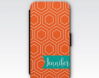 Wallet Case for iPhone 8 Plus, iPhone 8, iPhone 7 Plus, iPhone 7, iPhone 6, iPhone 6s, iPhone 5s - Orange Geometric Design Personalised Case