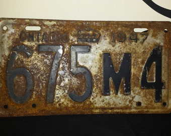 1947 Ontario License Plate. Rare 5 Characters 675M4. Bar Decor. Garage Decor. Man Cave