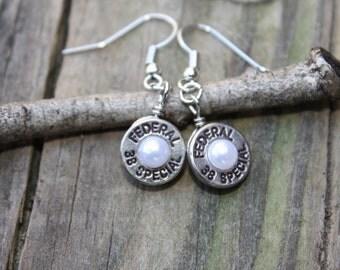 Bullet jewelry, bullet earrings dangle, 38 special brass silver bullet casing earrings, bullets with pearls, bullet jewelry, bullet pearls