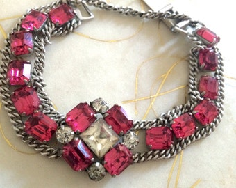Art Deco, Hot Pink, and Clear Paste Stones , Stunning 7 1/4 Inch Long Brscelet.Original and Gorgeous.