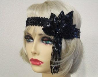 Flapper Headband, Gatsby Headband, 1920s Headband, Flapper Headpiece, Art Deco Headband, Black Sequin Headband, 1920s Hair Accessory