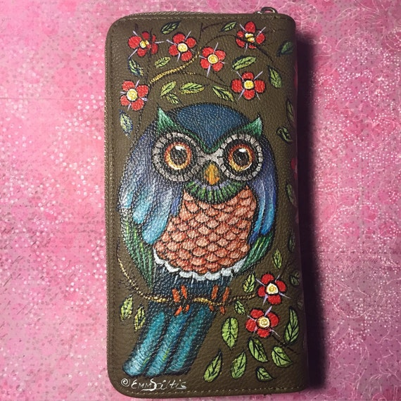 women's wallet - owl purse - handpainted
