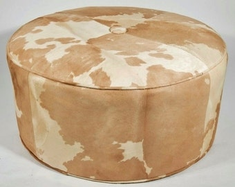 "Vintage 31"" Round Genuine Tan & White Cowhide Hair on Hide Ottoman Coffee Table"