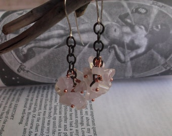 Rose Quartz Clusters Mixed Metal Sterling Silver Copper