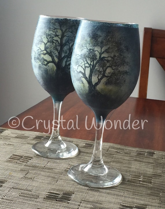 Wine Glasses: Set of Two (2) Hand-painted 20 oz Wine Glasses