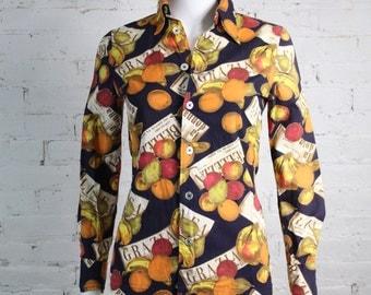 1970s Givenchy Blouse Cotton Fruit Italian Novelty Print Shirt Top 6