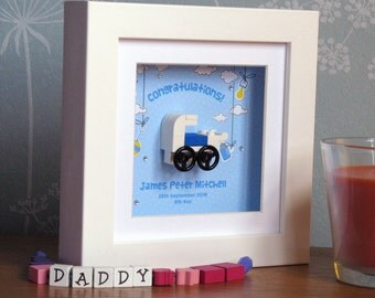 0003B Mini Baby Boy Pram LEGO® Wall Art Frame