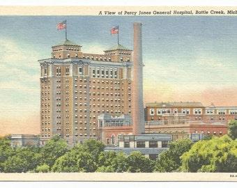 Battle Creek, Michigan Percy Jones General Hospital Linen Era Postcard