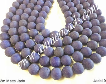12m Round Smooth Matte Frosted Blue Navy Jade..!!!!