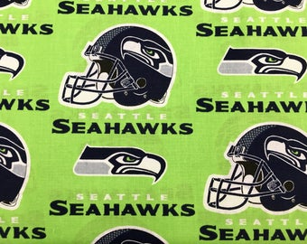 """SEATTLE SEAHAWKS nfl 60"""" Cotton Fabric By The Yard All Over Green Print Fabric Traditions"""