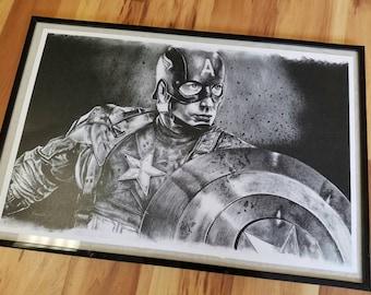 Captain America charcoal print