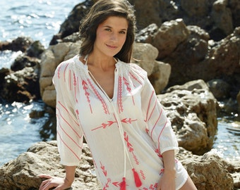 Top: Embroidered cotton top, Gabriele