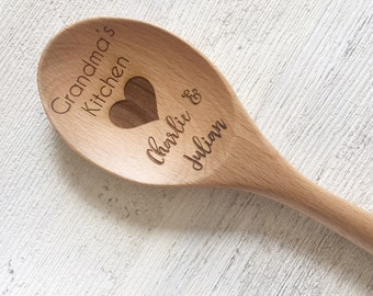 Personalised wooden Kitchen spoon -   Nana's/Grandma's kitchen from her grandchildren  mothers day bakers gift