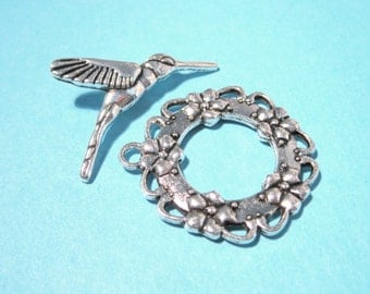 5 Sets Antique Silver Toggle Clasp 28mm Hummingbirds Toggle Clasp