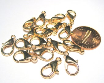20pcs Light Gold Lobster Claw Clasps 14x7mm