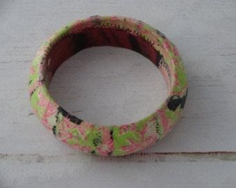 Cuff bracelet,  decoupage jewelry, wooden decoupage bracelet, multicolour jewelry, gift for her,