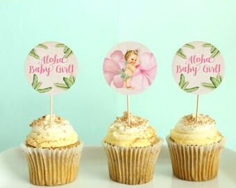 Aloha Baby Shower Cupcake Topper, Luau, Hawaiian Baby Shower _038