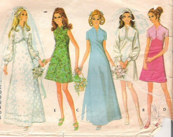 Vintage 1970s Wedding Dress  McCalls Pattern 2376 Empire Waist Wedding Gown Two Lengths Bridesmaid Dress Womens Bust 34