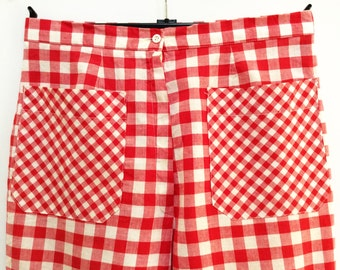 vintage checkered pants red and white pants Swedish 1970s fashion cool pants with pockets
