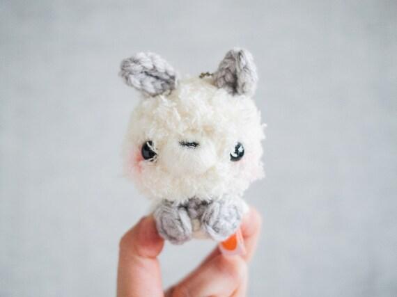 Amigurumi Bunny Keychain : Amigurumi Bunny Stuffed Plush Keychain with Gray Shirt White