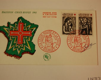 France-Semi Post Red Cross Cover-Scott B356/57-1961-Hard to Find-VG/F