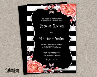 Printable Black And White Stripe Wedding Invitation With Coral Watercolor Peonies | DIY Botanical Striped Wedding Invitations With Flowers