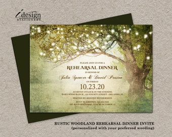 Printable Rustic Woodland Backyard Rehearsal Dinner Invitation With String Lights For Tree, Garden, Outdoor, Country Or Fairy Lights Wedding