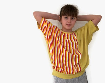 Retro 80s yellow and red striped spring /summer T-SHIRT