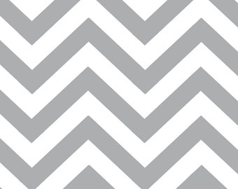 Steel Grey and White Zig Zags by Half Moon Modern for Moda