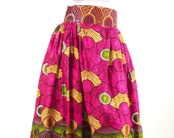 Pink and Green Maxi skirt with pockets (Yellow)