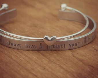 I Will Always Love & Protect Your Little Girl, Secret Message Jewelry, Mother of the Bride Bracelet, Gift from Future Son In Law
