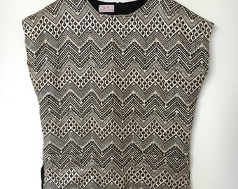 Gorgeous Textile Silver and Black Tunic Fully Lined, size Large made in Guatemala